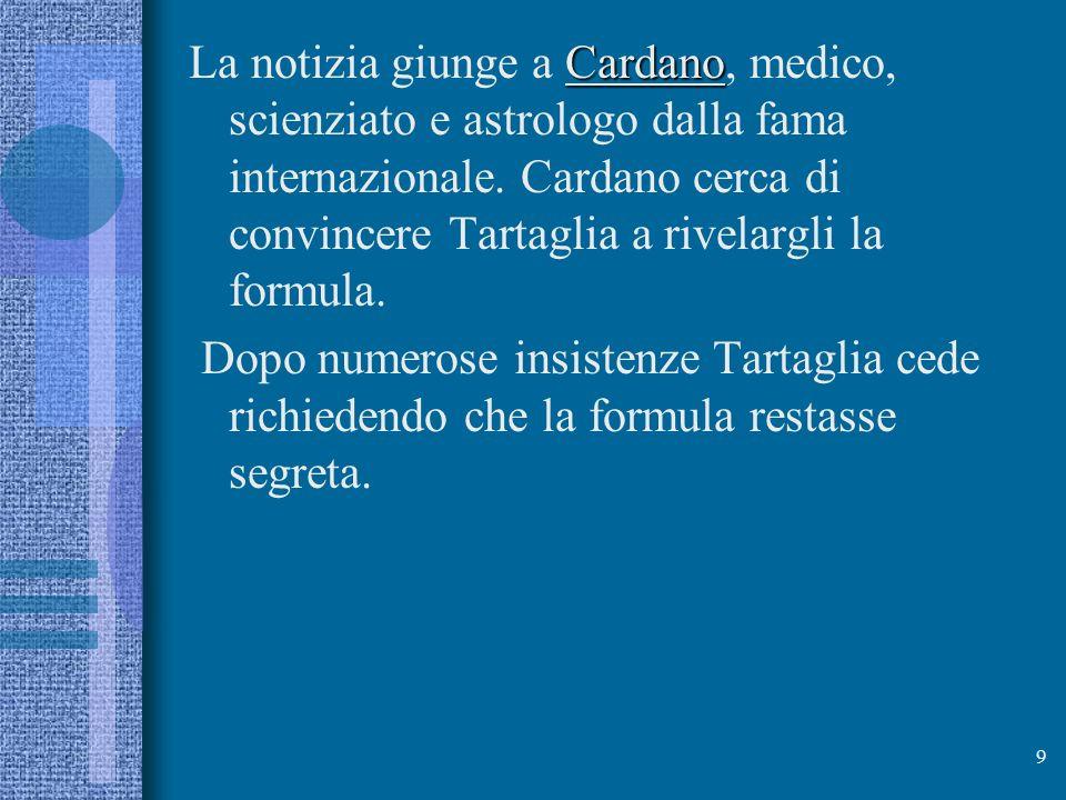 La notizia giunge a Cardano, medico, scienziato e astrologo dalla fama internazionale. Cardano cerca di convincere Tartaglia a rivelargli la formula.