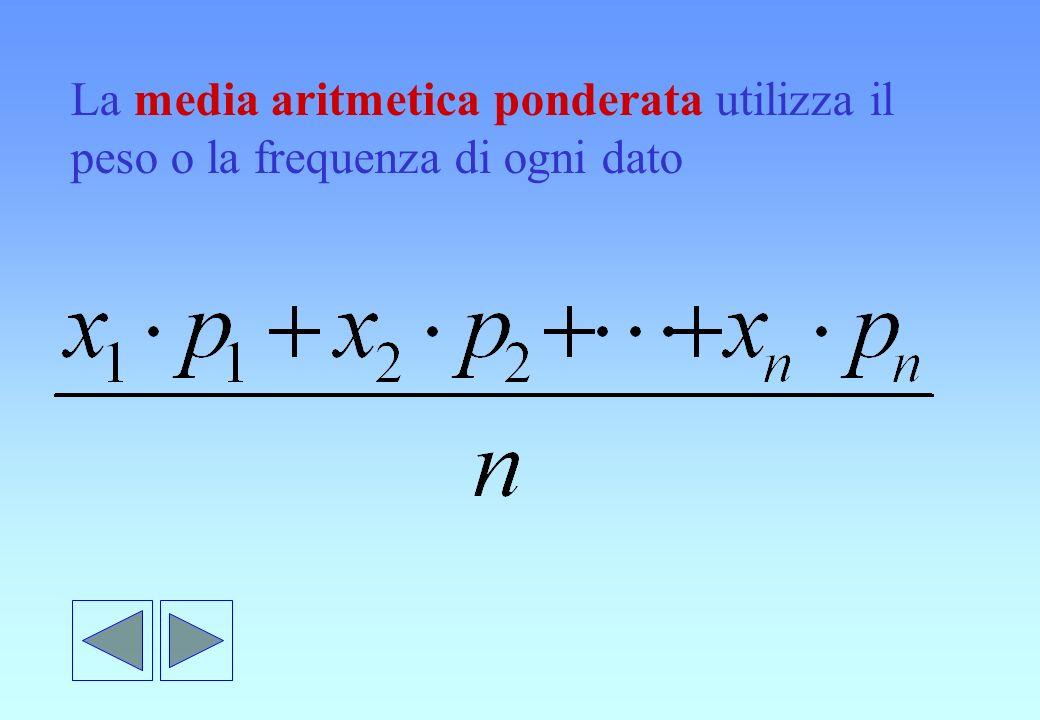 La media aritmetica ponderata utilizza il peso o la frequenza di ogni dato