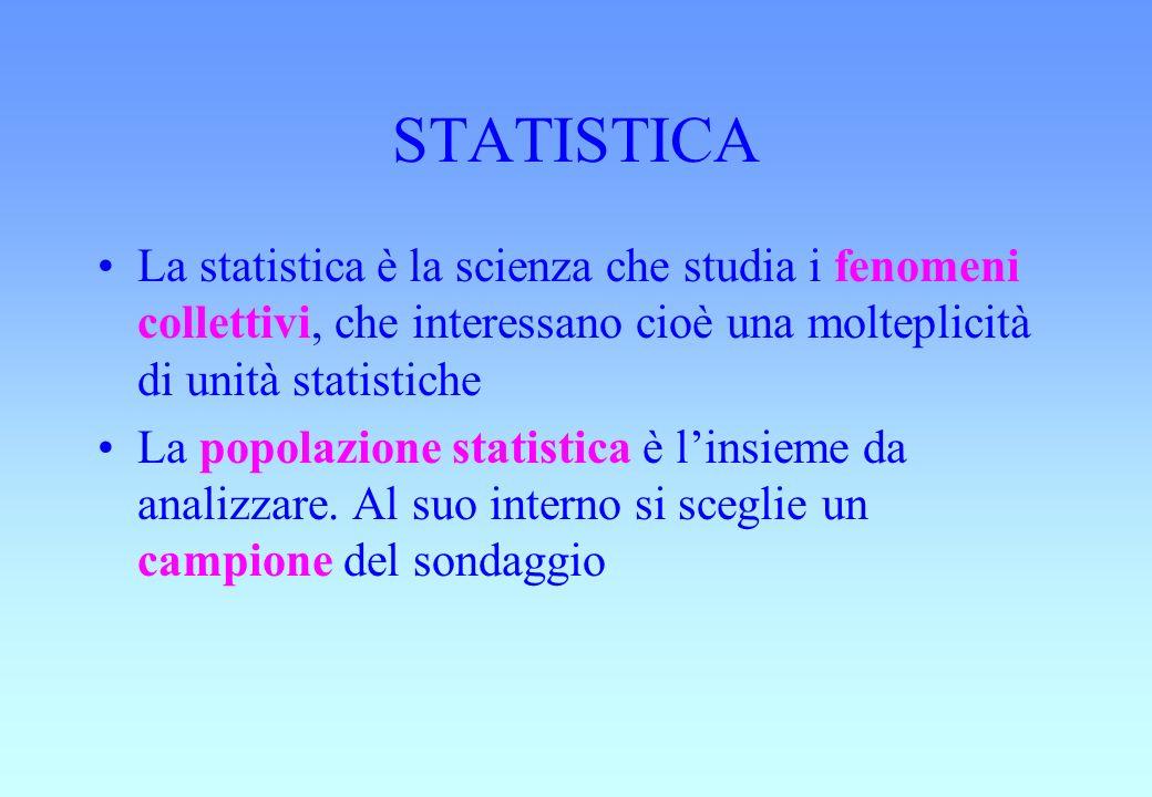 STATISTICA La statistica è la scienza che studia i fenomeni collettivi, che interessano cioè una molteplicità di unità statistiche.
