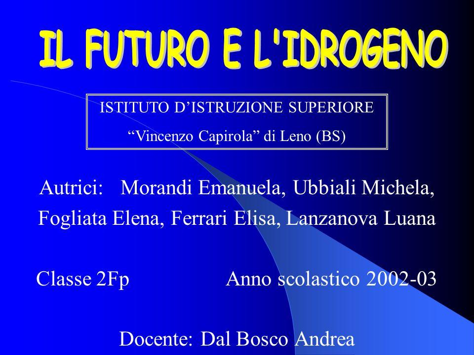 IL FUTURO E L IDROGENO Autrici: Morandi Emanuela, Ubbiali Michela,