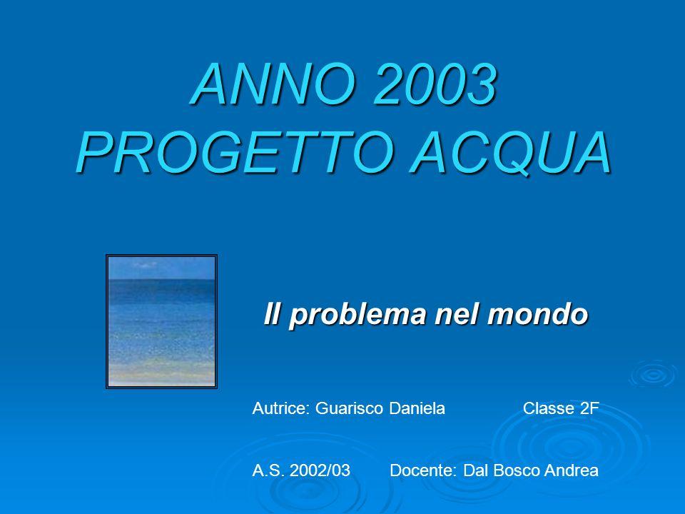 ANNO 2003 PROGETTO ACQUA Il problema nel mondo