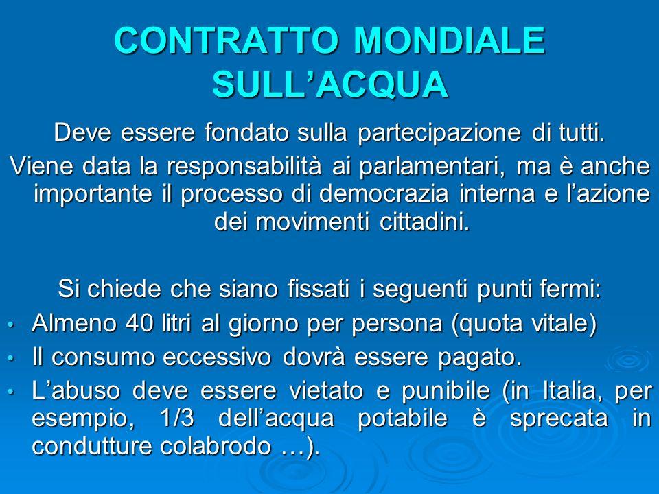 CONTRATTO MONDIALE SULL'ACQUA