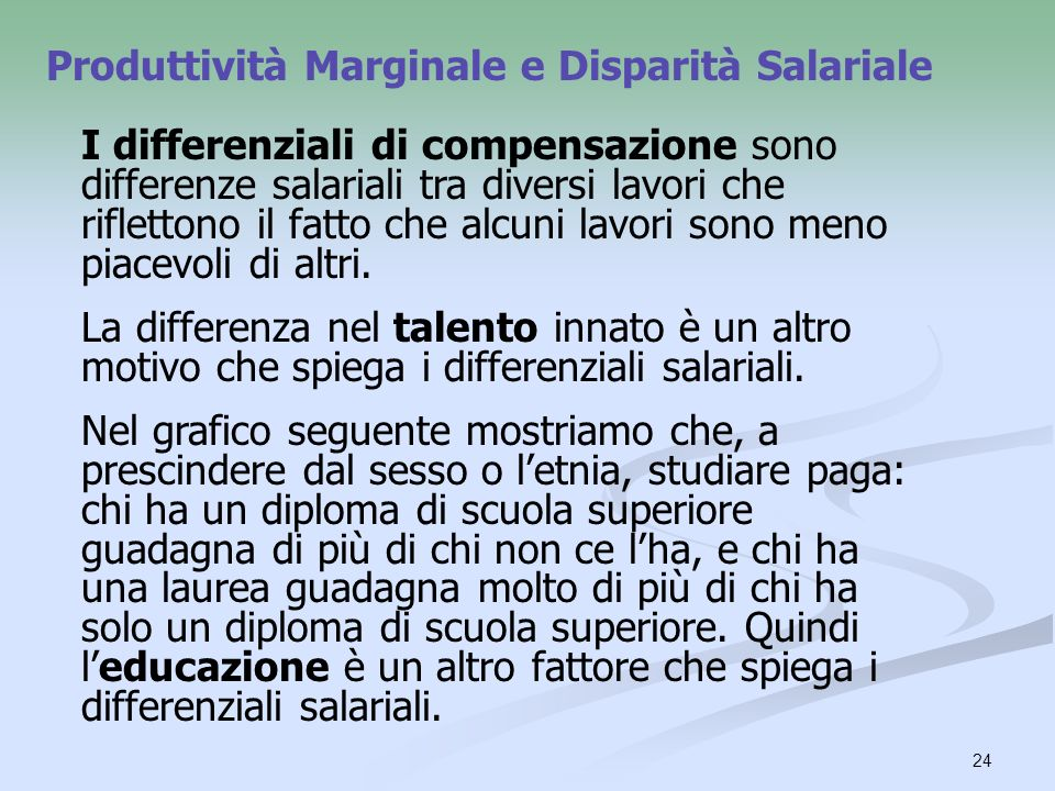 Produttività Marginale e Disparità Salariale