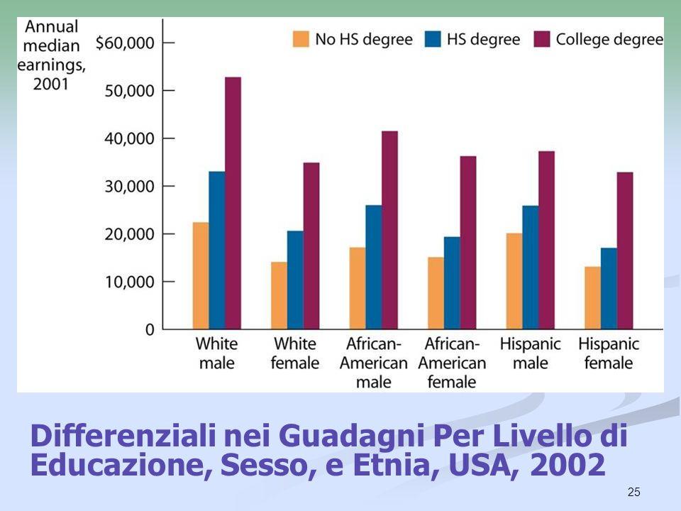 Differenziali nei Guadagni Per Livello di Educazione, Sesso, e Etnia, USA, 2002