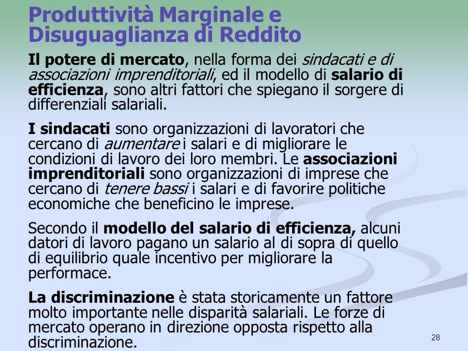 Produttività Marginale e Disuguaglianza di Reddito