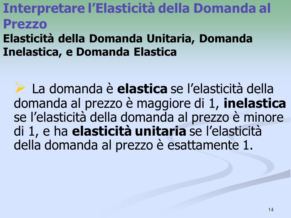Interpretare l'Elasticità della Domanda al Prezzo Elasticità della Domanda Unitaria, Domanda Inelastica, e Domanda Elastica