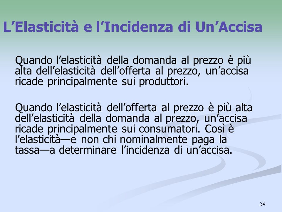 L'Elasticità e l'Incidenza di Un'Accisa