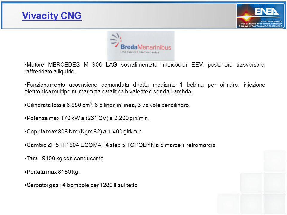 Vivacity CNG Motore MERCEDES M 906 LAG sovralimentato intercooler EEV, posteriore trasversale, raffreddato a liquido.