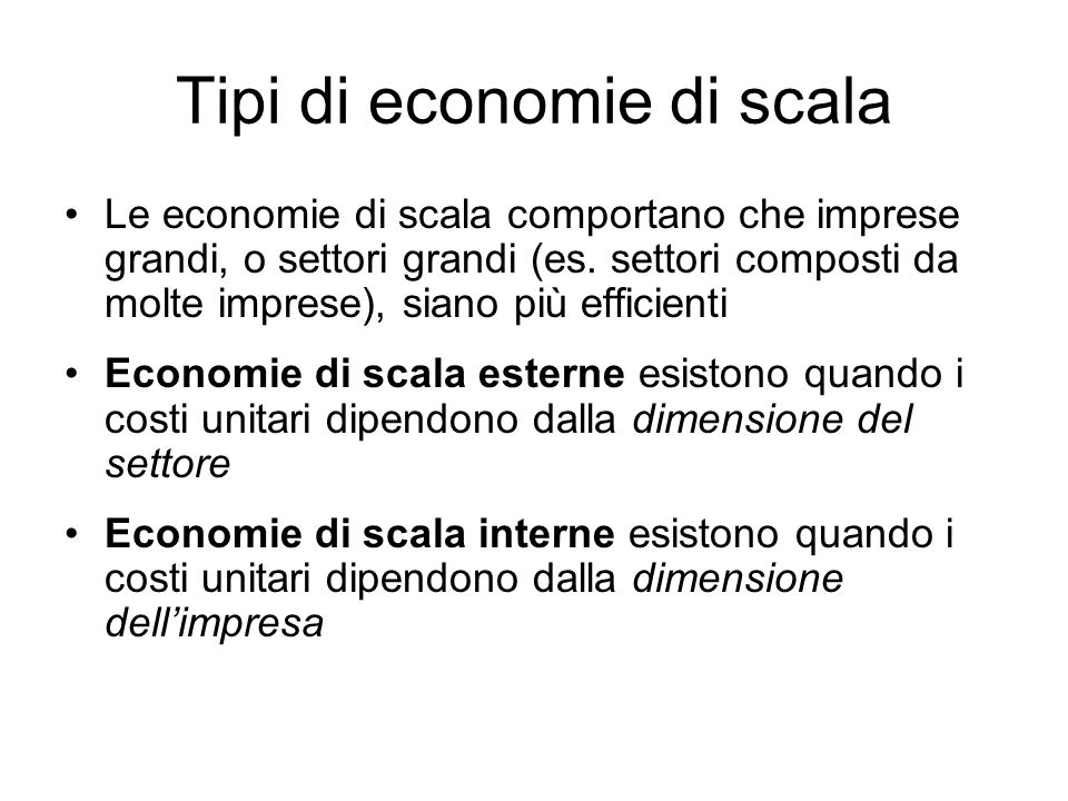Tipi di economie di scala