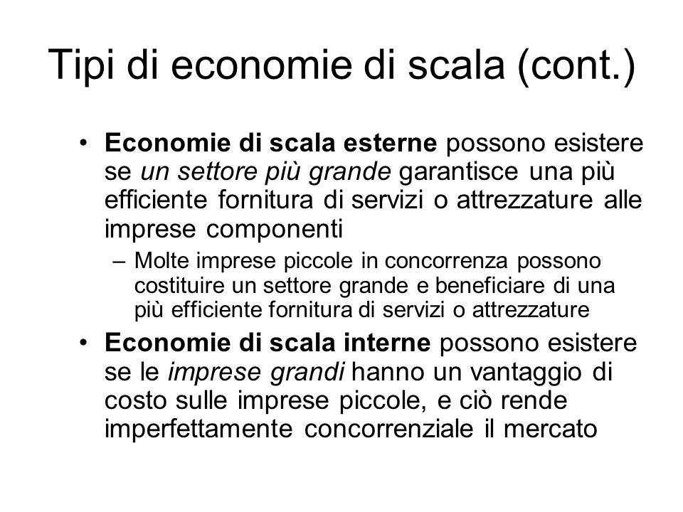 Tipi di economie di scala (cont.)