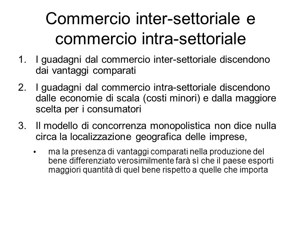 Commercio inter-settoriale e commercio intra-settoriale