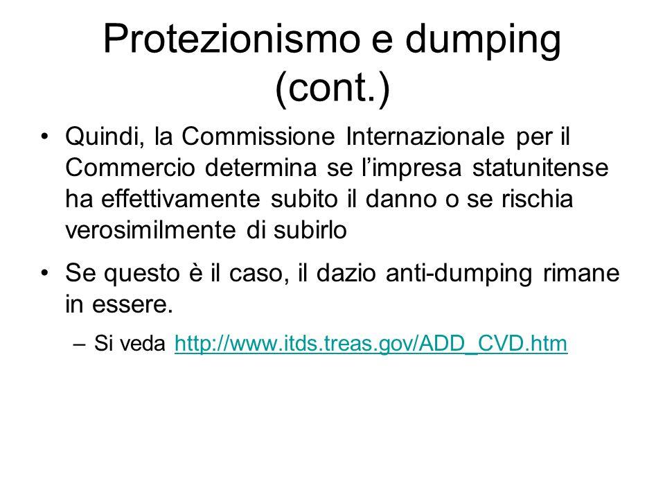 Protezionismo e dumping (cont.)