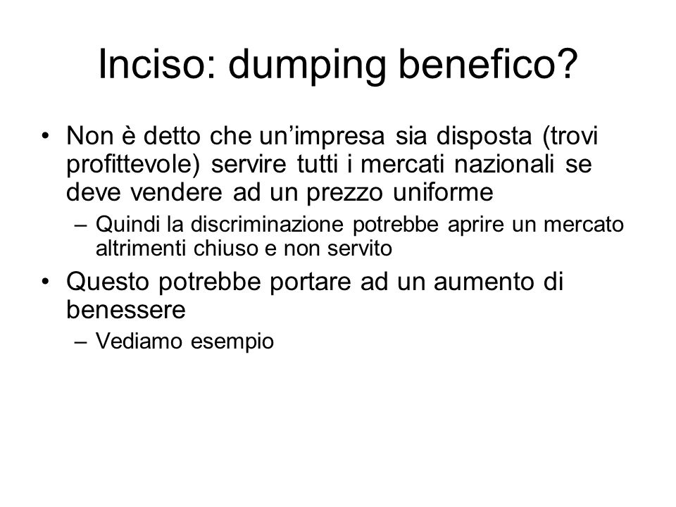 Inciso: dumping benefico