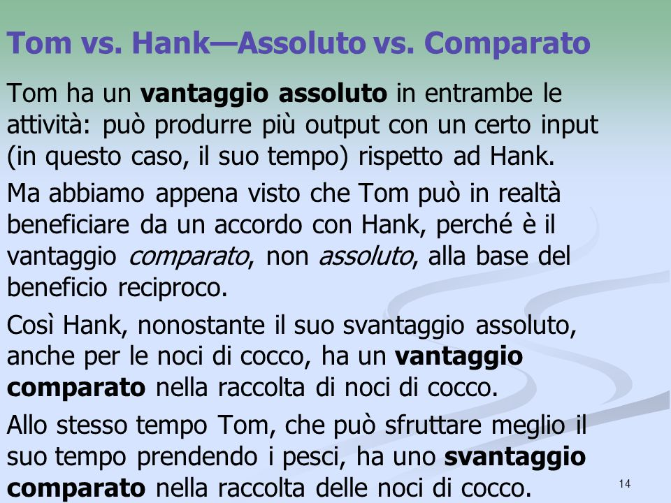 Tom vs. Hank—Assoluto vs. Comparato