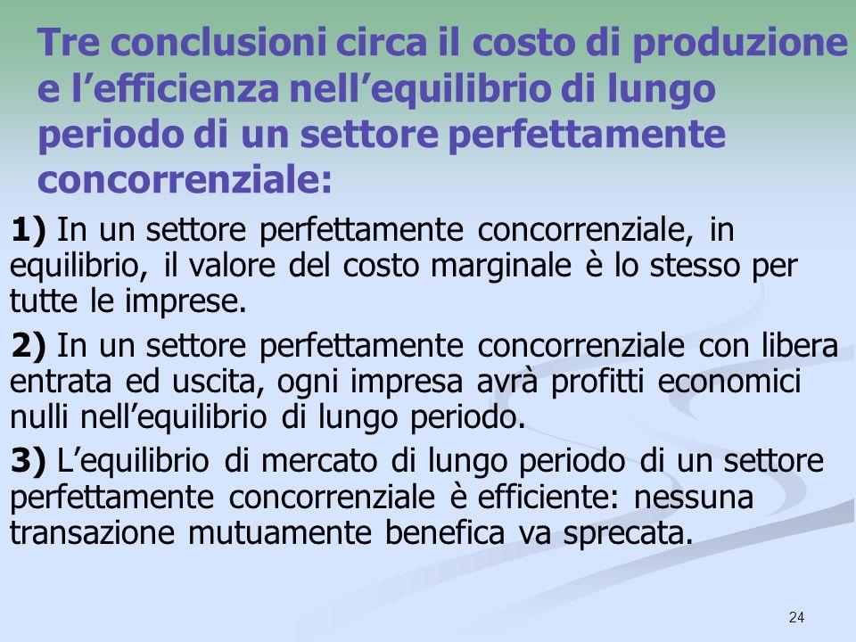 Tre conclusioni circa il costo di produzione e l'efficienza nell'equilibrio di lungo periodo di un settore perfettamente concorrenziale: