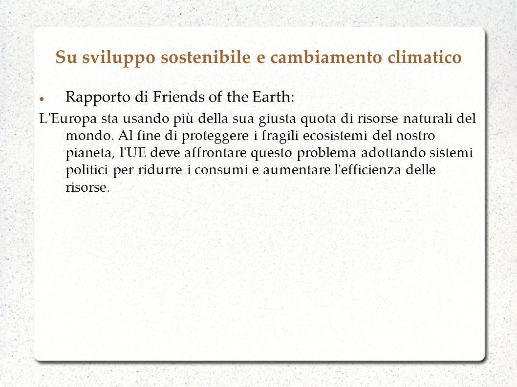 Su sviluppo sostenibile e cambiamento climatico