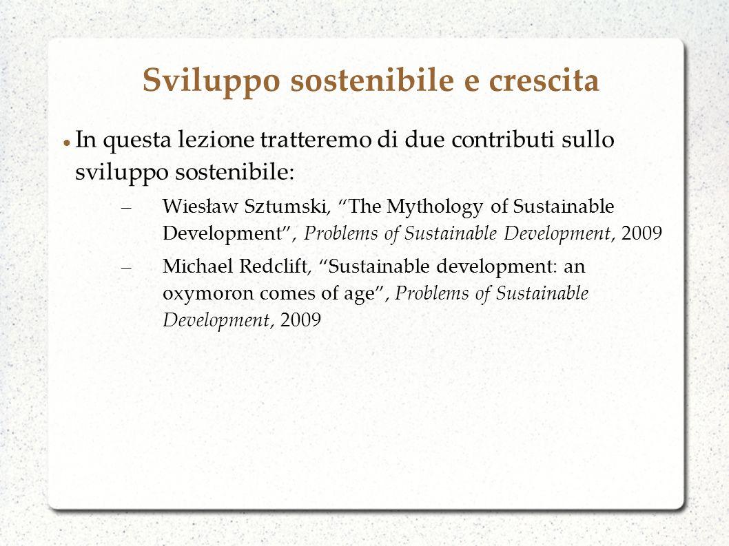 Sviluppo sostenibile e crescita