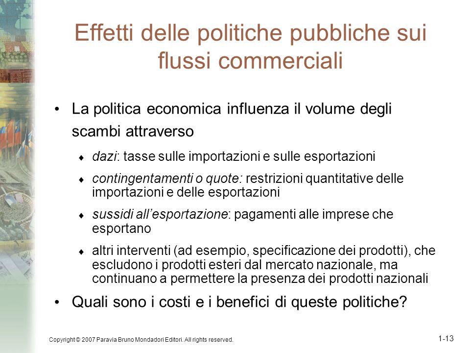 Effetti delle politiche pubbliche sui flussi commerciali