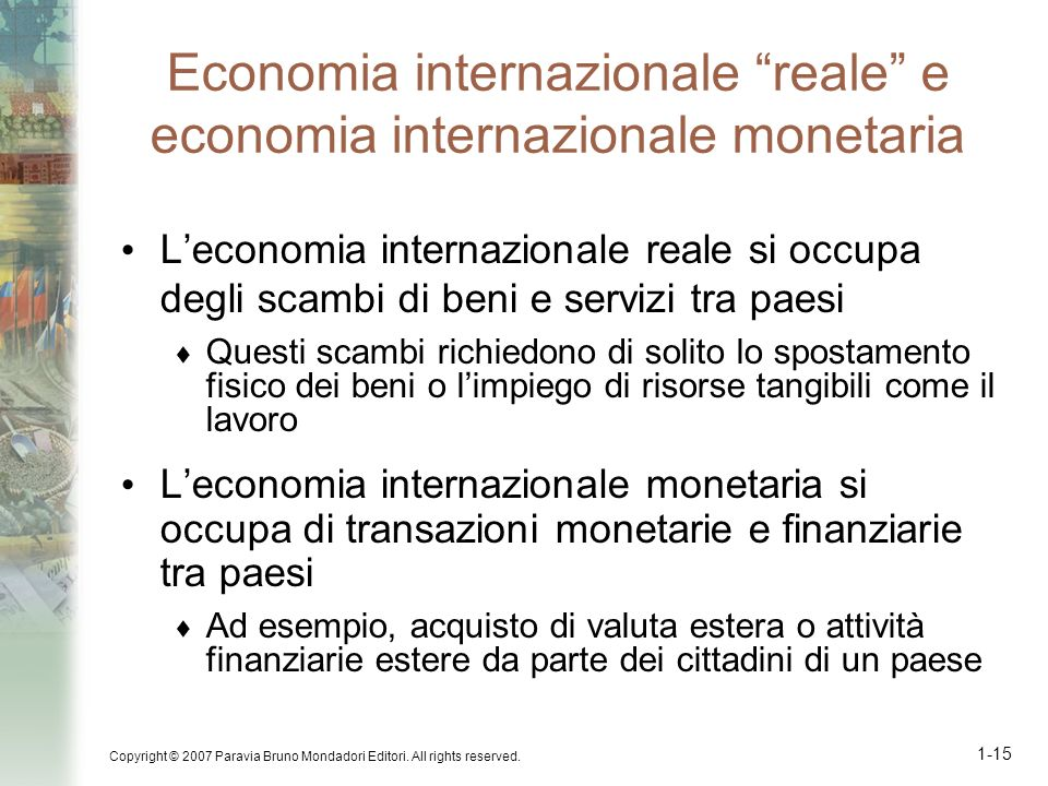 Economia internazionale reale e economia internazionale monetaria