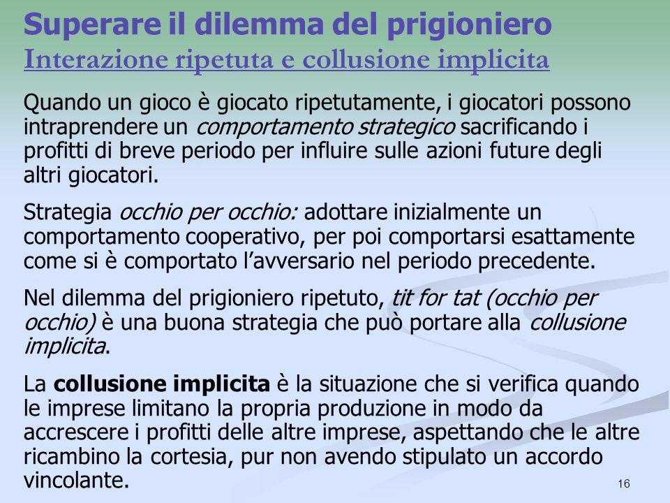 Superare il dilemma del prigioniero Interazione ripetuta e collusione implicita