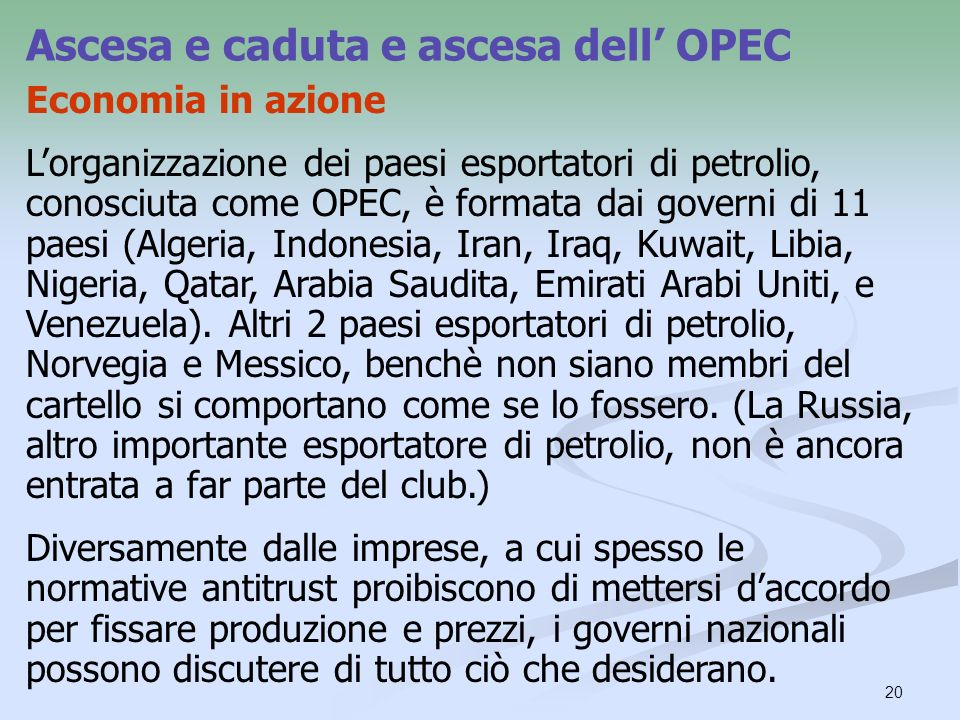 Ascesa e caduta e ascesa dell' OPEC