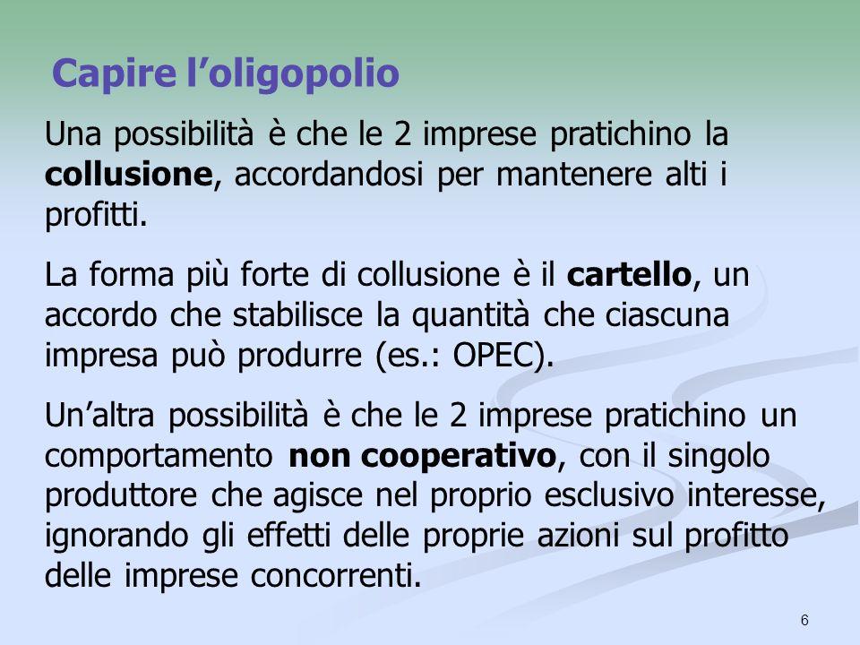 Capire l'oligopolio Una possibilità è che le 2 imprese pratichino la collusione, accordandosi per mantenere alti i profitti.