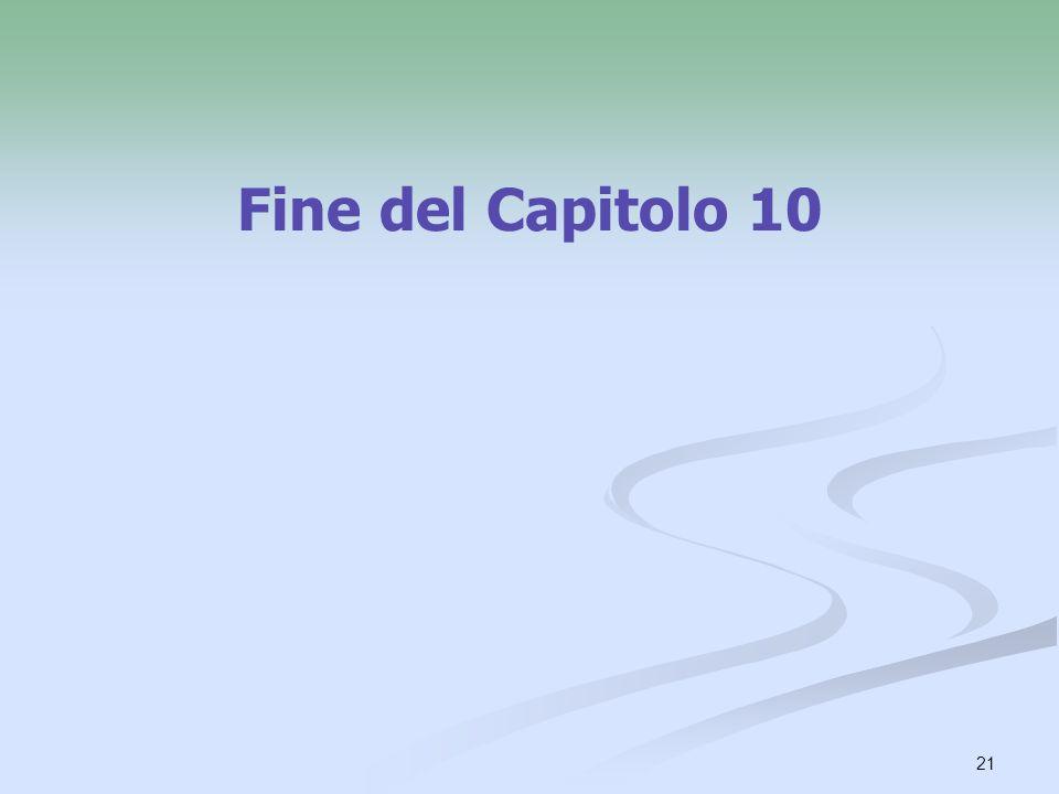 Fine del Capitolo 10