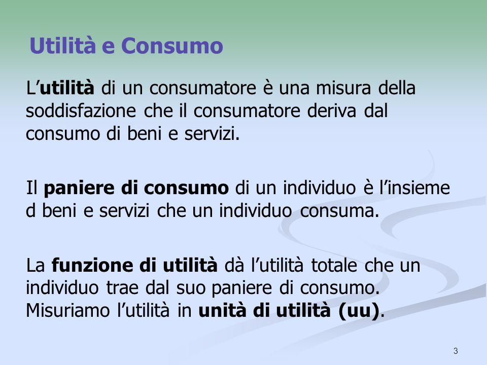 Utilità e Consumo L'utilità di un consumatore è una misura della soddisfazione che il consumatore deriva dal consumo di beni e servizi.