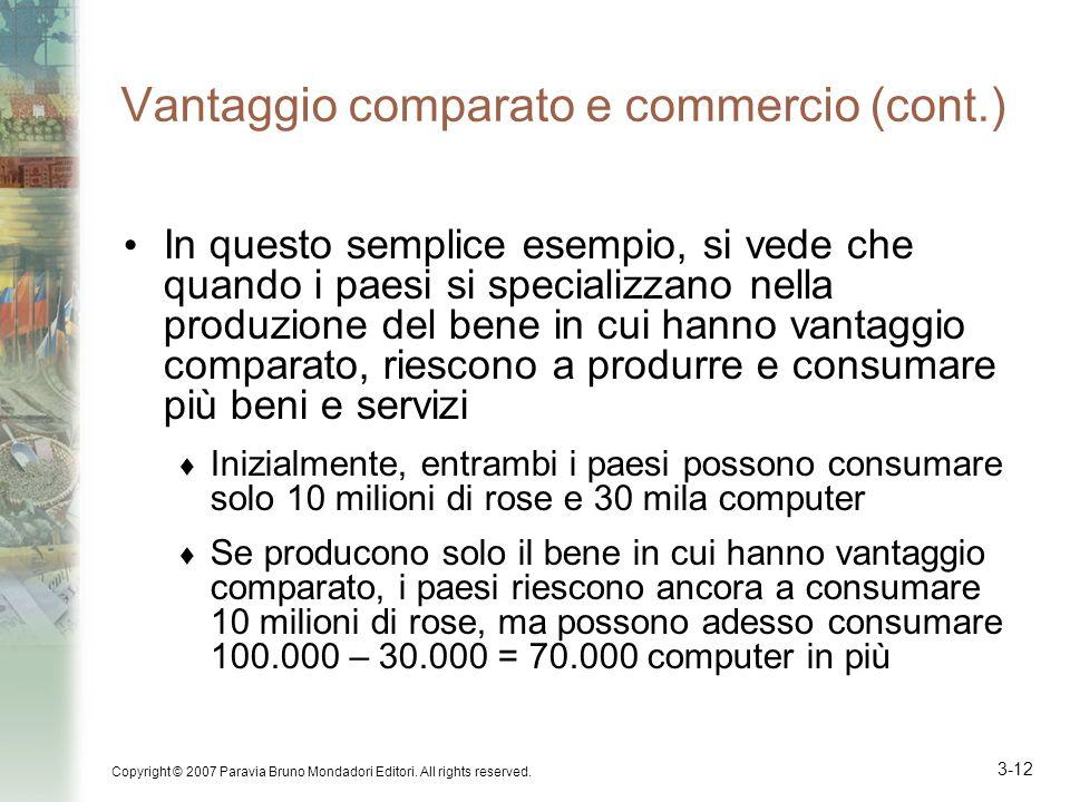 Vantaggio comparato e commercio (cont.)