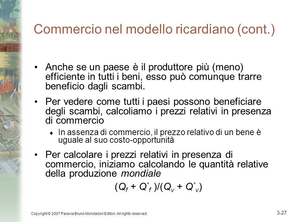 Commercio nel modello ricardiano (cont.)