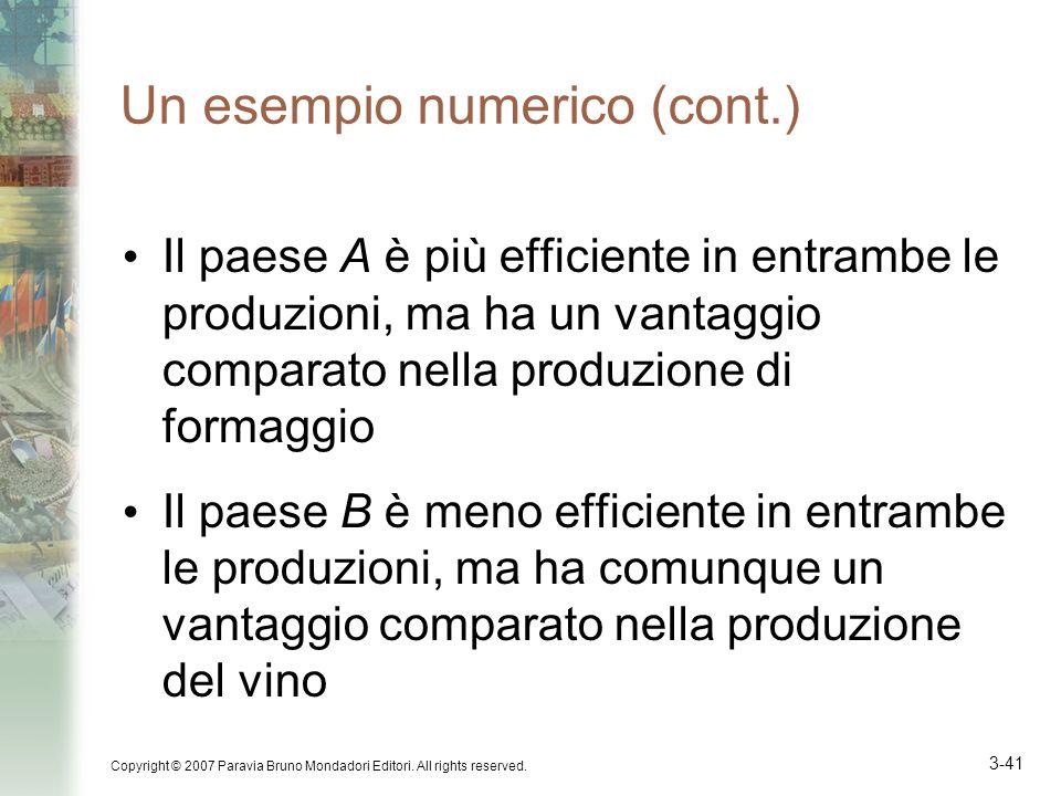 Un esempio numerico (cont.)