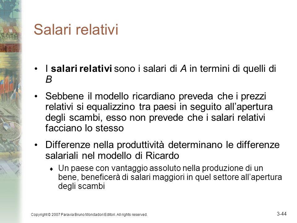 Salari relativi I salari relativi sono i salari di A in termini di quelli di B.