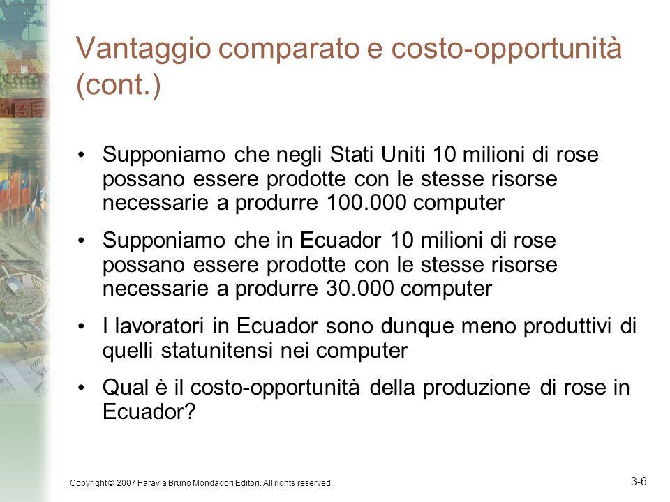 Vantaggio comparato e costo-opportunità (cont.)