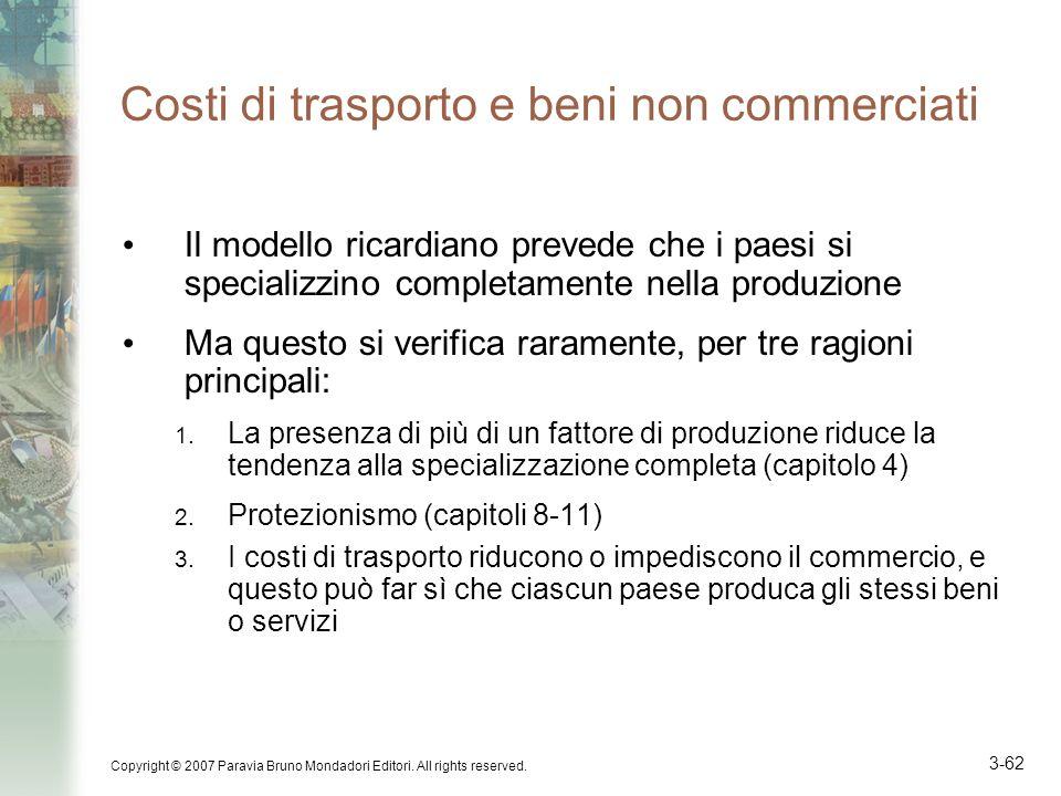 Costi di trasporto e beni non commerciati