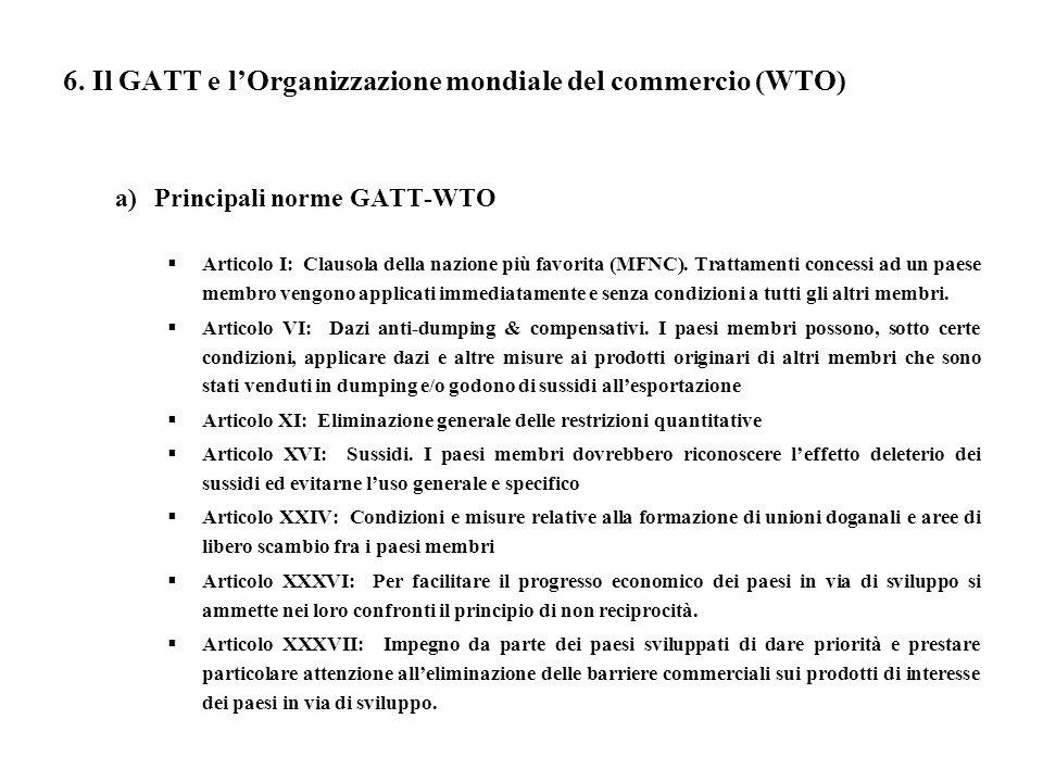 6. Il GATT e l'Organizzazione mondiale del commercio (WTO)