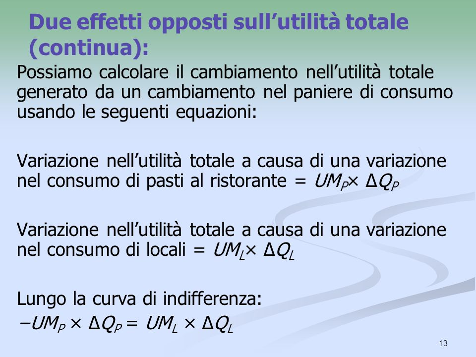 Due effetti opposti sull'utilità totale (continua):