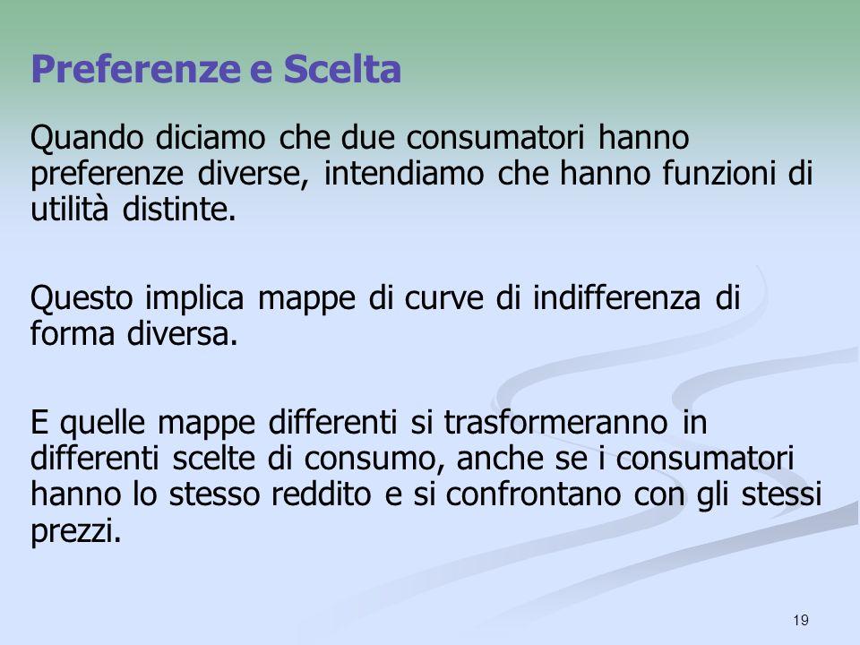 Preferenze e Scelta Quando diciamo che due consumatori hanno preferenze diverse, intendiamo che hanno funzioni di utilità distinte.