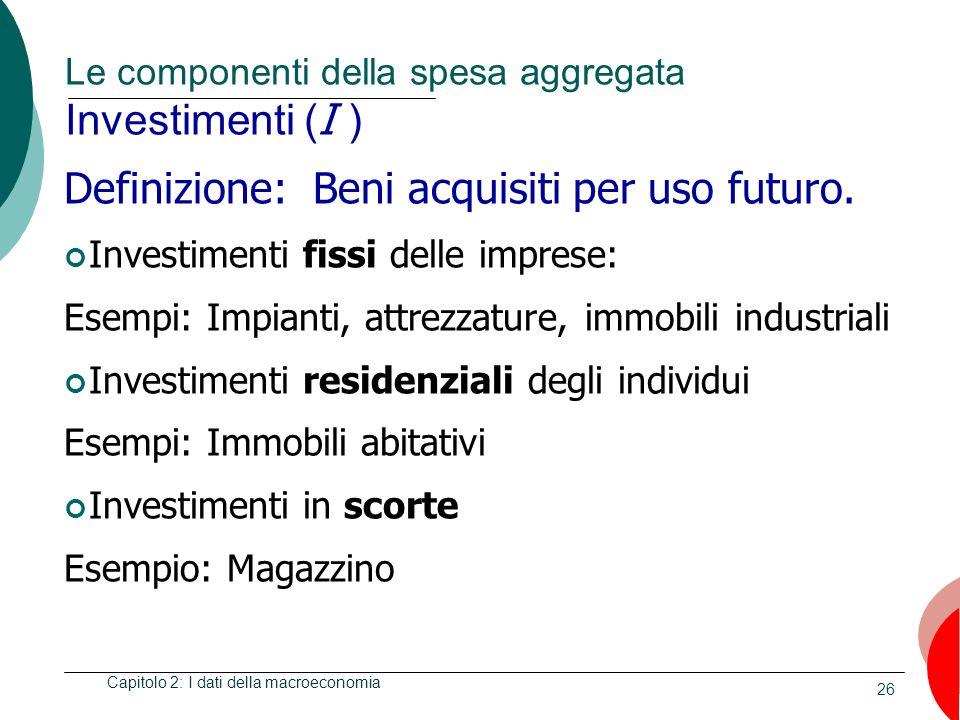 Le componenti della spesa aggregata Investimenti (I )