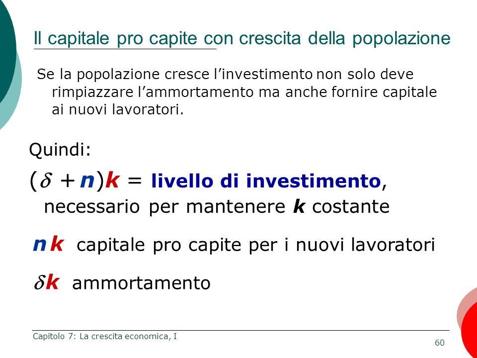 Il capitale pro capite con crescita della popolazione