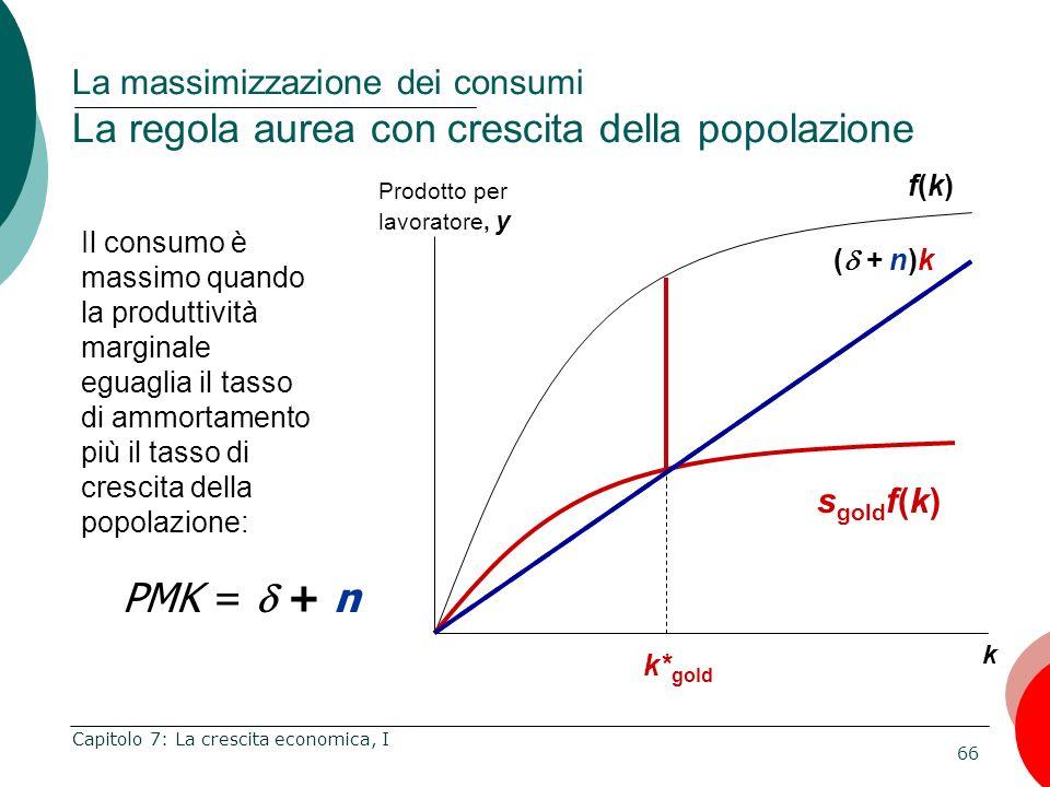 La massimizzazione dei consumi La regola aurea con crescita della popolazione