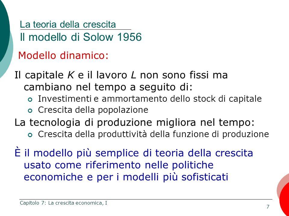 La teoria della crescita Il modello di Solow 1956