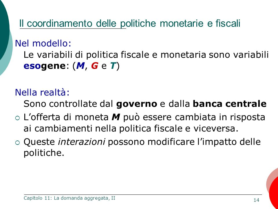 Il coordinamento delle politiche monetarie e fiscali