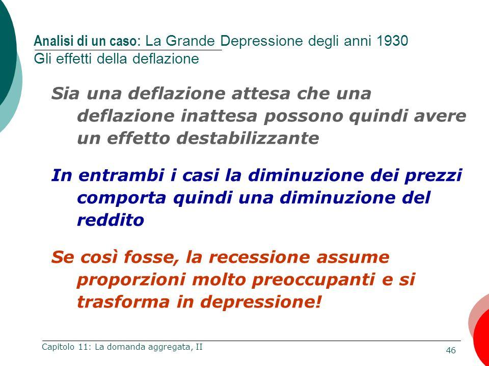 Analisi di un caso: La Grande Depressione degli anni 1930 Gli effetti della deflazione