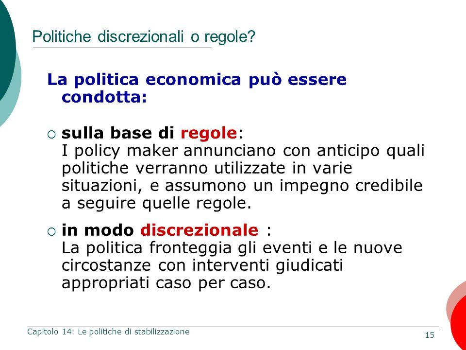 Politiche discrezionali o regole