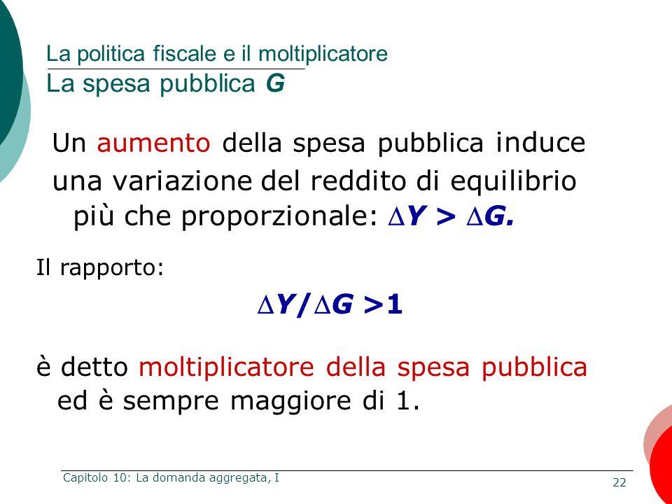 La politica fiscale e il moltiplicatore La spesa pubblica G