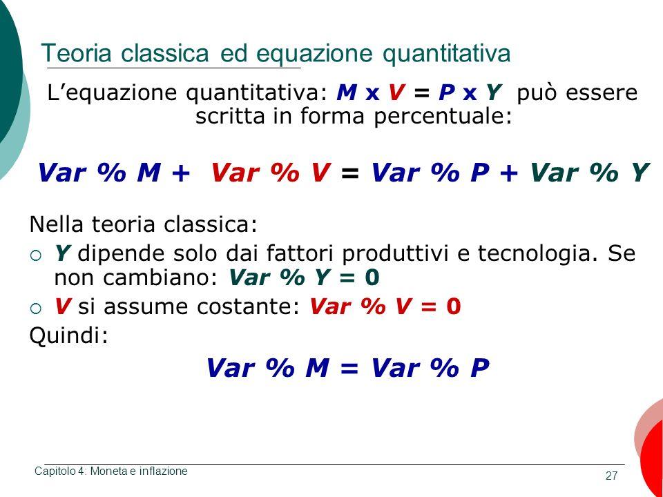 Teoria classica ed equazione quantitativa