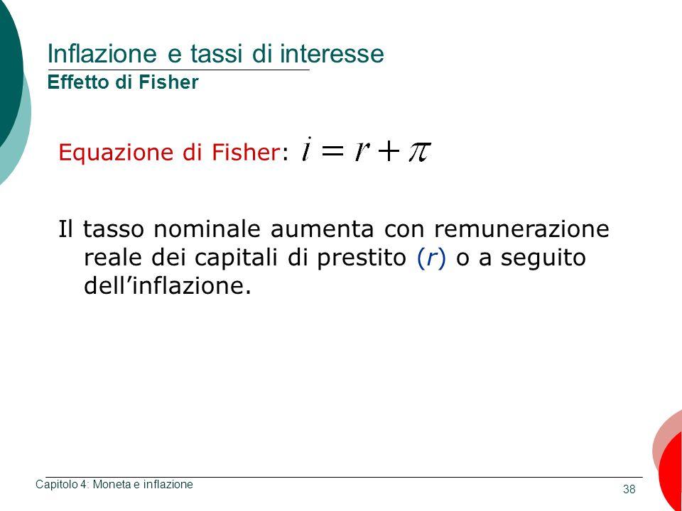 Inflazione e tassi di interesse Effetto di Fisher