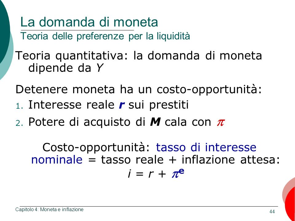 La domanda di moneta Teoria delle preferenze per la liquidità