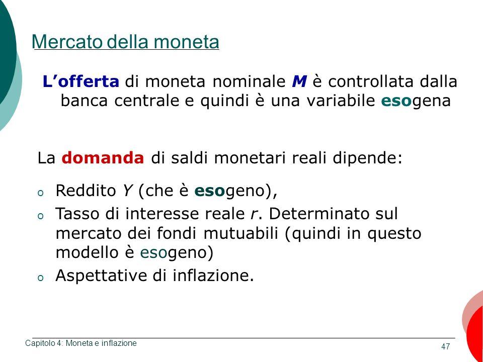Mercato della moneta L'offerta di moneta nominale M è controllata dalla banca centrale e quindi è una variabile esogena.