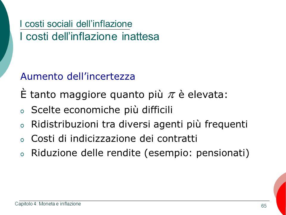 I costi sociali dell'inflazione I costi dell'inflazione inattesa